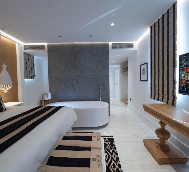 abaton island resort and spa room inside