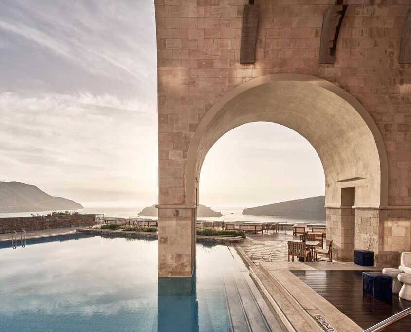 Blue palace Elounda swimming pool view