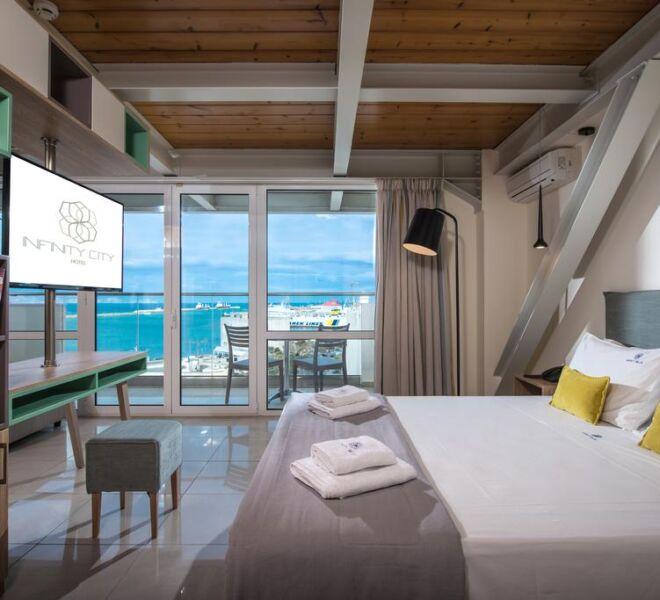 infinity city boutique hotel bedroom sea view