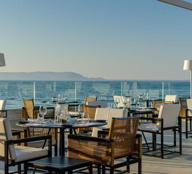 Knossos Beach Bungalows Suites Resort & Spa restaurant sea view