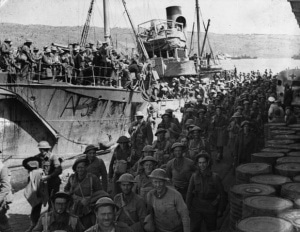 World war 2 in Crete British troops disembark in Souda bay, Chania