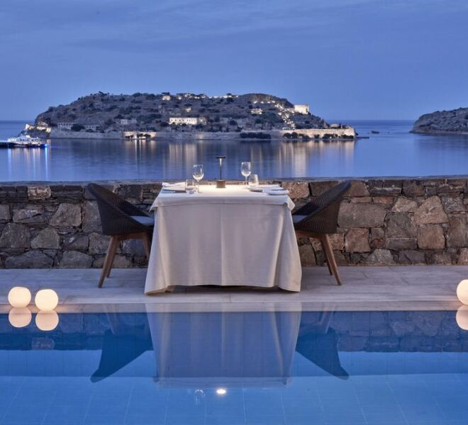 Blue palace Elounda spa resort sea view on Spinalonga