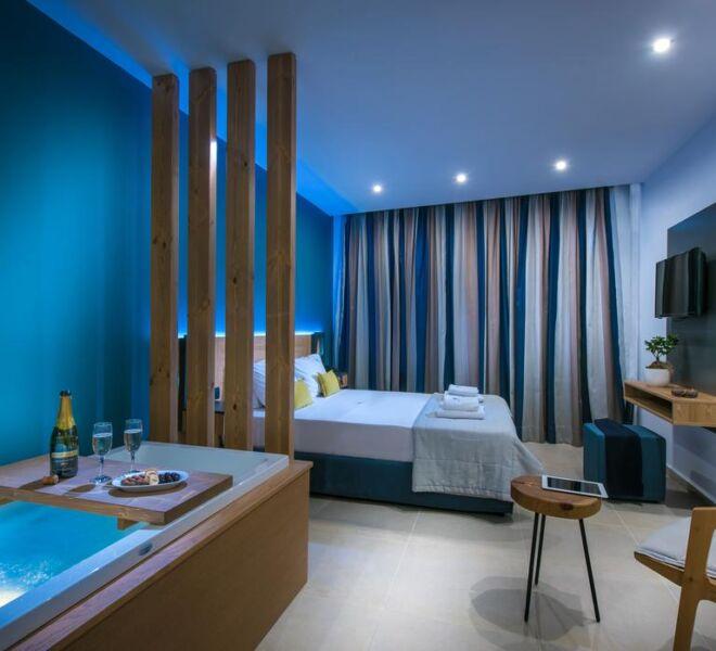 Infinity blue boutique hotel bedroom bath
