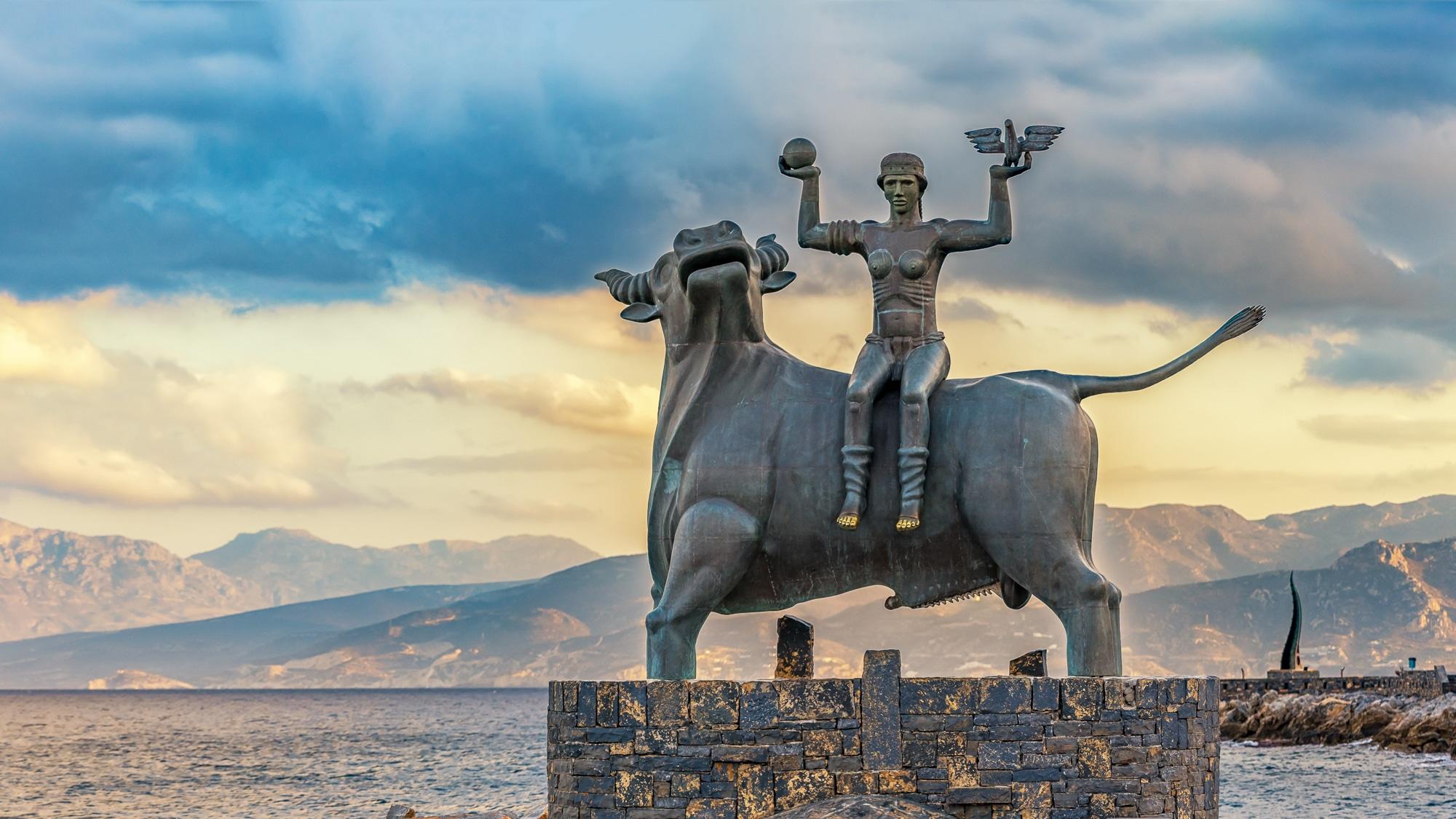 Zeus and Europa, statue n Agios Nikolaos , Crete