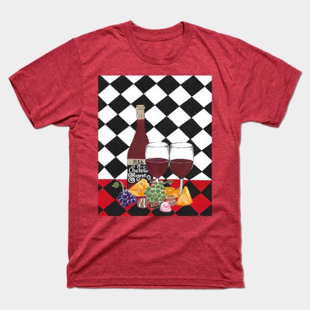 Naïve art style t shirt red heather