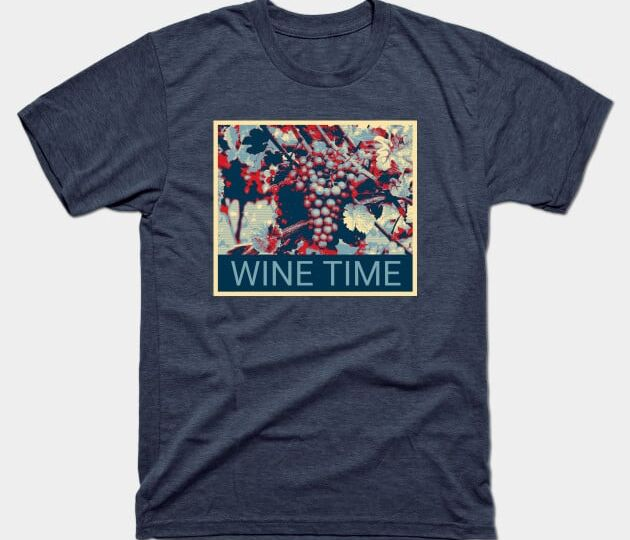 Wine time t shirt navy heather